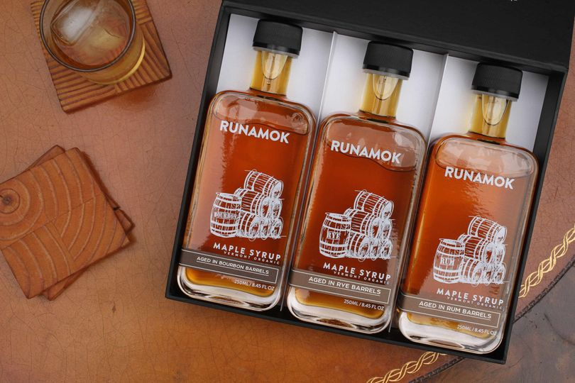 Runamok Maple 250ml gift boxes featuring barrel-aged, smoked and infused organic maple syrup