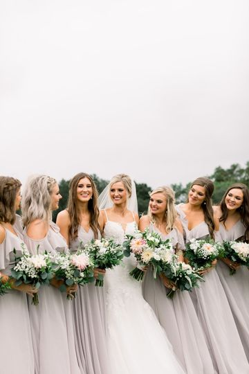 Neutral bridesmaid's dresses