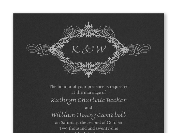Tmx Opulent Flourish Invitation Black 51 175610 Lodi, New Jersey wedding invitation