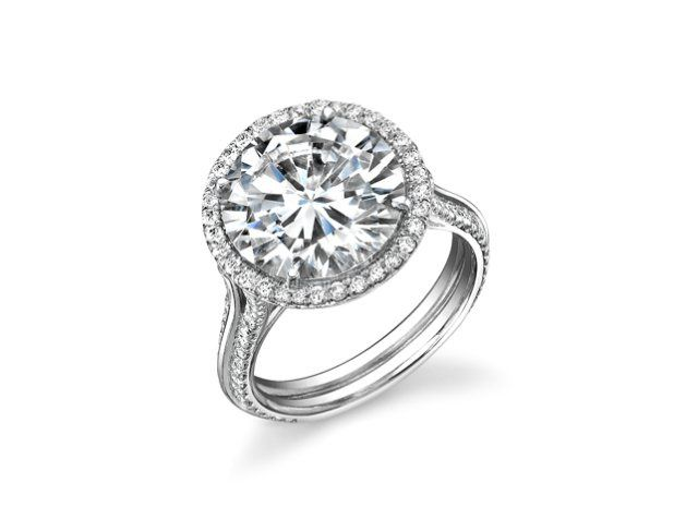 Shapiro Diamonds Custom-Designed Diamond Engagement Ring with Round Brilliant Cut Center Diamond Set...
