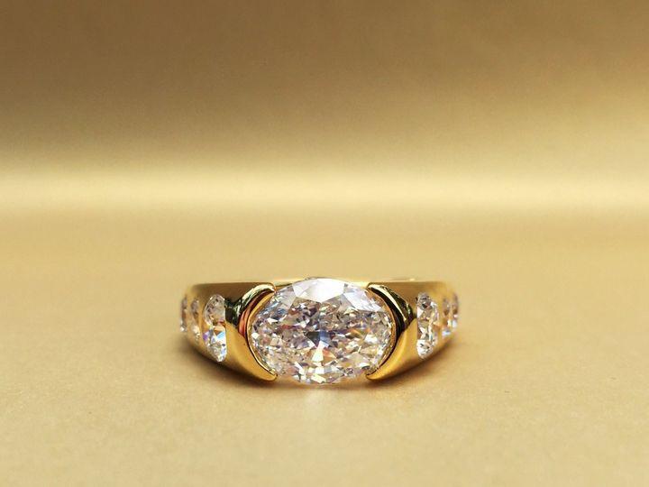 Tmx 1445271667828 Oval Diamond Sideways Set Diamond Ring Dallas Dallas wedding jewelry