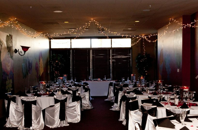 """""""After picture"""" Decorations set up by Simply Events. Black & White elegant theme with a pop of red..."""