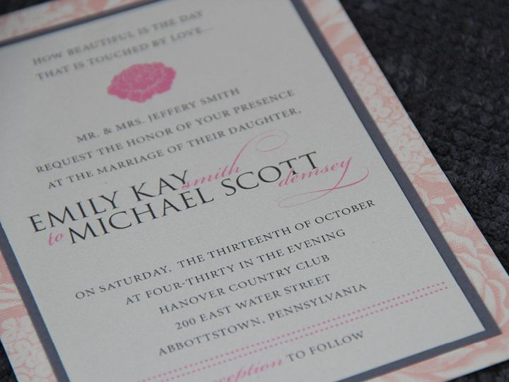 Tmx 1383077891853 Emilymichaelinvitatio Lancaster, Pennsylvania wedding invitation