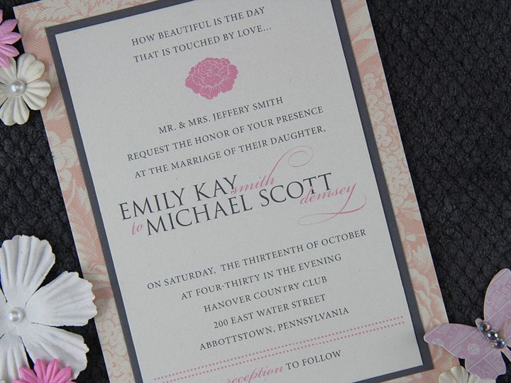 Tmx 1383077897423 Emilymichaelinvitation Lancaster, Pennsylvania wedding invitation