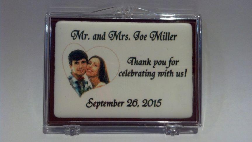 chocolate trading card wedding thank you with ed