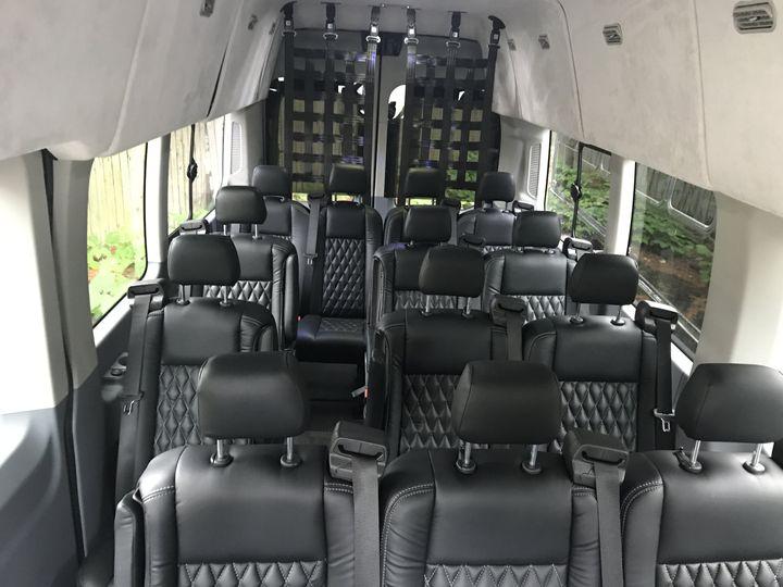 14-passenger van interior