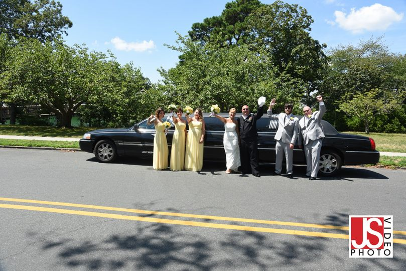 Bride and groom with the wedding party