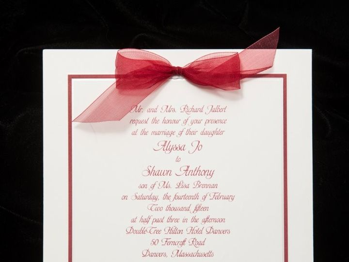 Tmx 1447784738356 Redwhitebow Lynn, Massachusetts wedding invitation