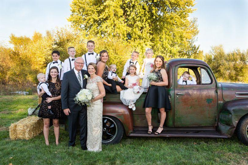 Family portrait, vintage truck
