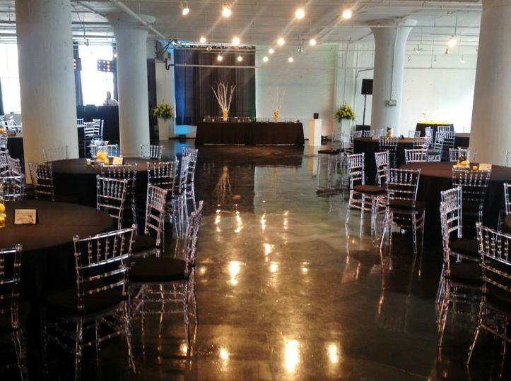 Reception where the head table was used as a backdrop for the ceremony. Guests sat at their guest...