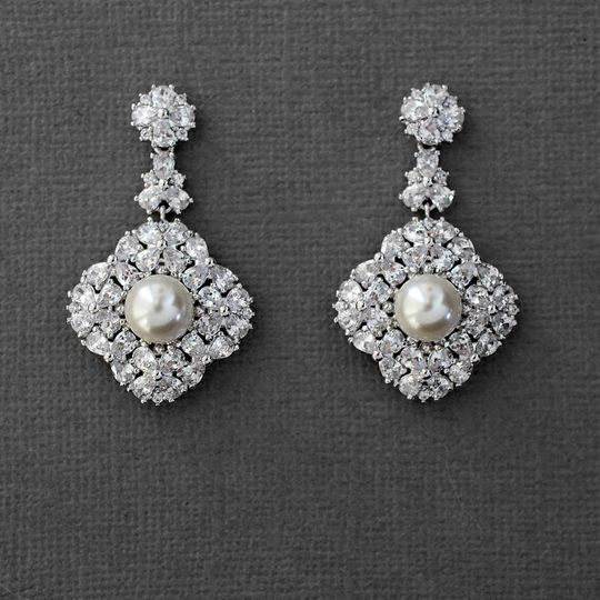 CZ Bridal Pearl Earrings