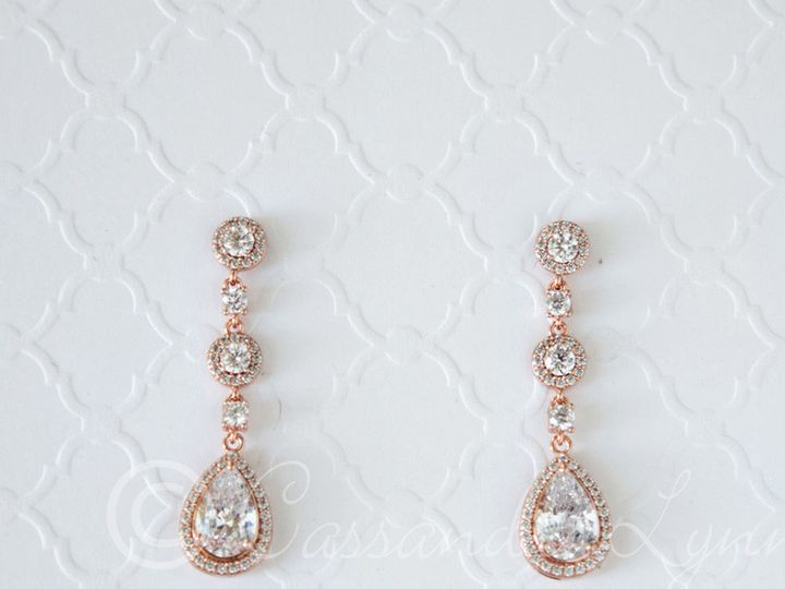 Tmx 1474995703097 Rosegoldpeardropdanglczearrings Kansas City wedding dress