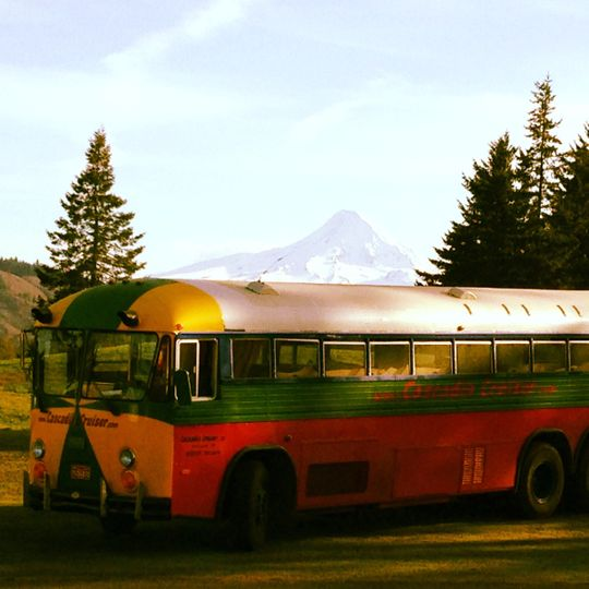 "Adventures in Oregon! This shot of our ""Sasquatch"" party bus was taken in Hood River during a pre..."