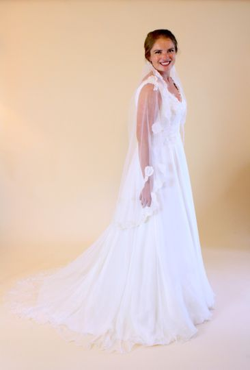 Catherine's custom gown using silk gauze over Silk Hemp and new and heirloom alencon lace