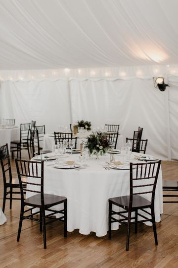 Black and white reception table setup