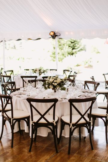 Reception table and chic chairs