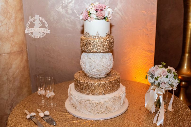 Ruffle, gold, sequins wedding