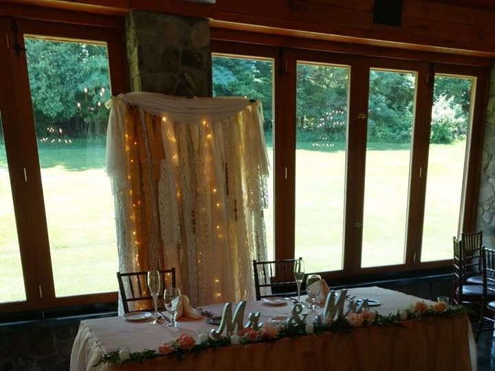 Tmx 1502554768995 Lh Head Table W Lace Curtain Stroudsburg, PA wedding florist