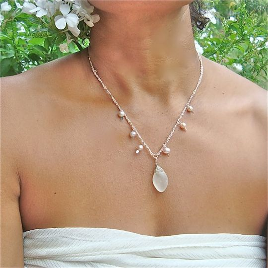 An Island Princess Necklace-  Perfectly wave tumbled and tropical beach found white Sea Glass that...