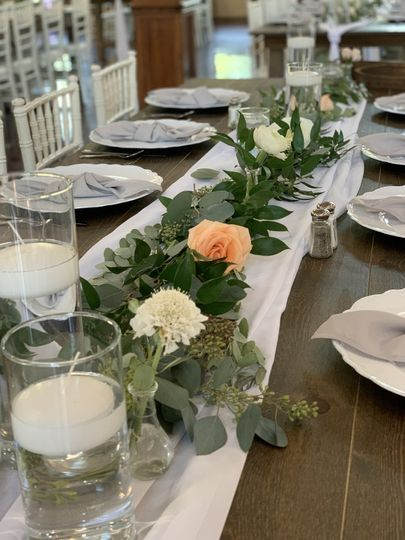 Wood table and floral