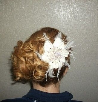 Side updo with flower