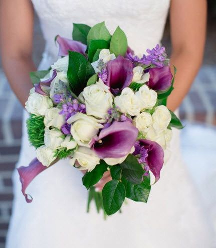 Purple and White Bridal Bouquet with calla lilies, roses, spray roses, trachelium, stock and lemon...