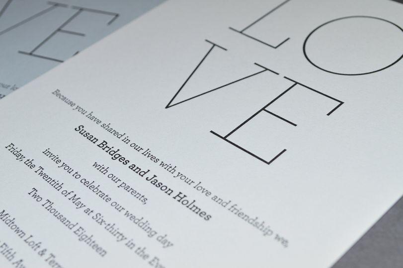 LOVE letterpress detail