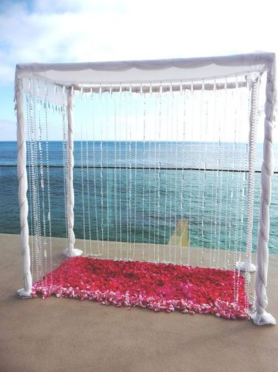Crystal Canopied Chuppah with Rose Petals