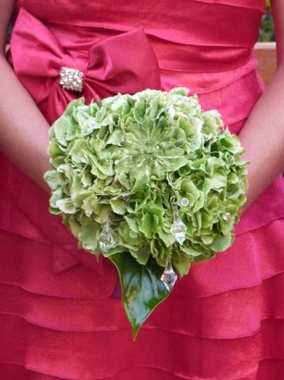 Bridesmaid Bouquet of green Hydrangas and crystals