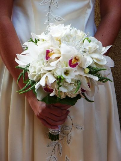 Bride's Bouquet with orchids and crystals