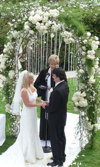 Wedding Arch of White Hydrangas,Roses, and Dangling Crystals