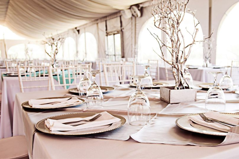 Stunning pink tablescape in the tent