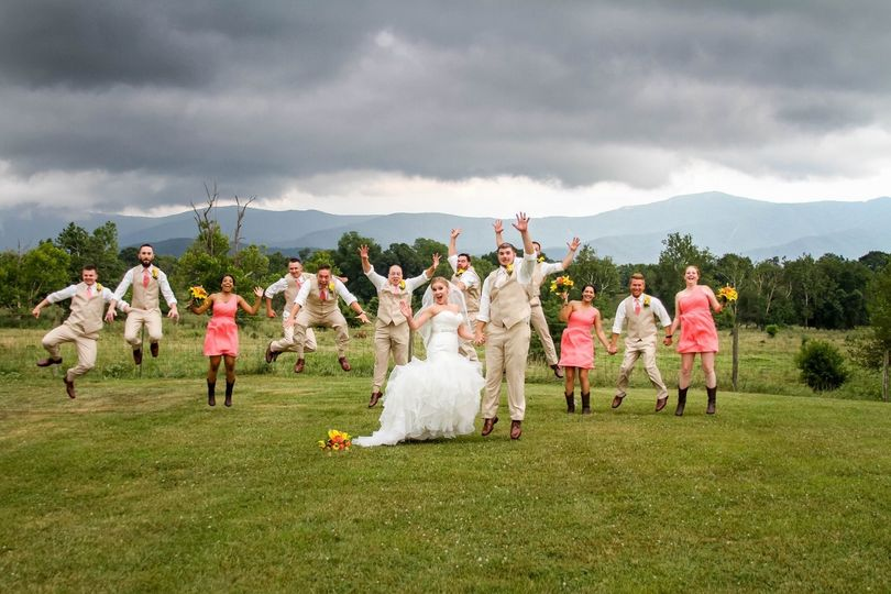 Jump shot of the newlyweds and their guests