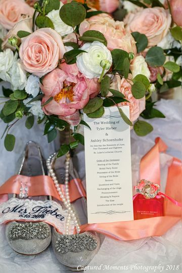 Gorgeous peach wedding details with peony flowers by Kistner's
