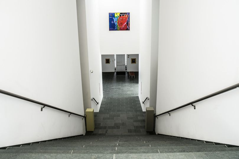 Concrete stairs in art gallery