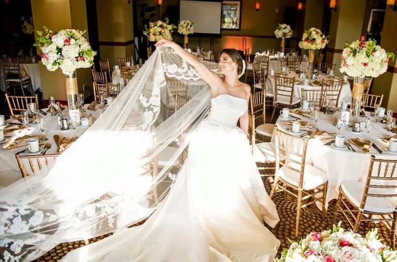 The bride on her wedding gown