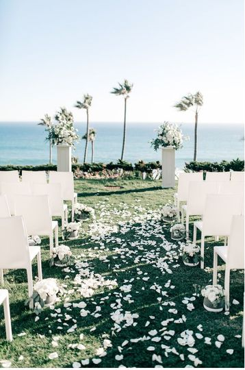 Wedding aisle with white petals
