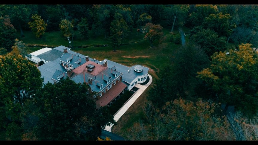 Drone shot from above the Cameron Estates Inn. Tuomisto and Soohy wedding October 8, 2017