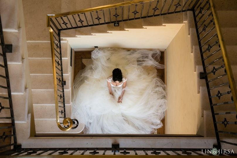 View of the bride from the top floor