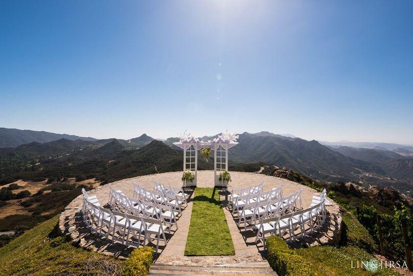 Mountaintop wedding setup