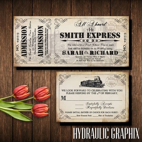 train ticket wedding invitation