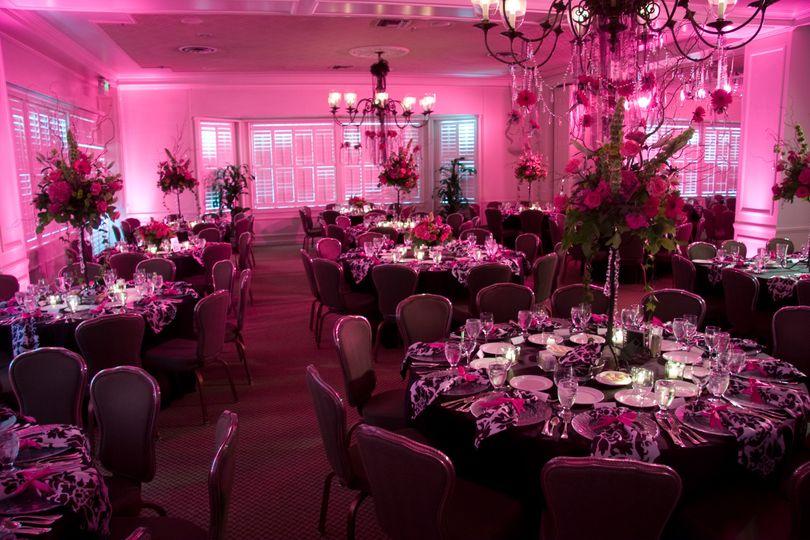 Purple motif wedding reception