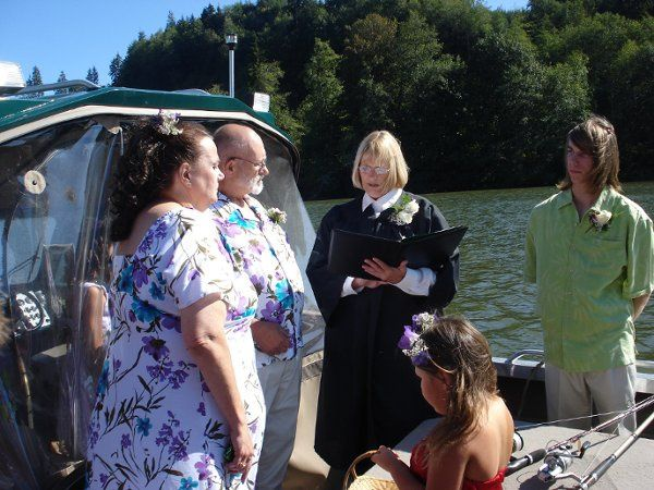 Married this couple on their boat on a lake....the guest stood on the dock.