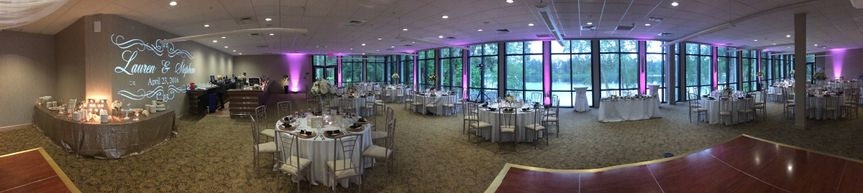 Panoramic Pic of Uplighting and Monogram Projection