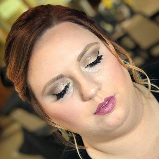 Pink lip and eyeshadow work