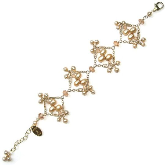 Madison Simone Bracelet in Ivory Pearls and Champagne CZs