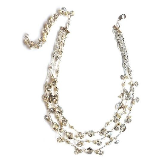 Nina's 3 Strand Necklace in Swarovski Crystals and dainty White Pearls