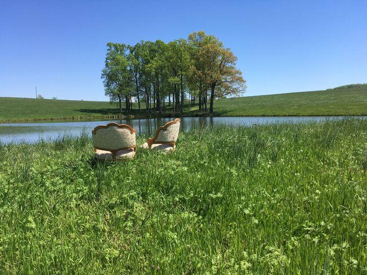 Sitting near the pond