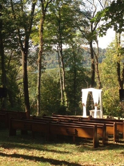 Outdoor Ceremony in October located at The Overlook at Goshen Crest Farm.  Pews by The Pew People.