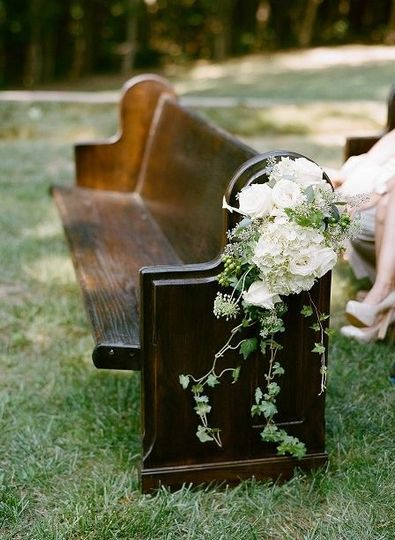 Beautiful Church pew used for seating for family of Bride and Groom.  Church Pew by Canvas Event...